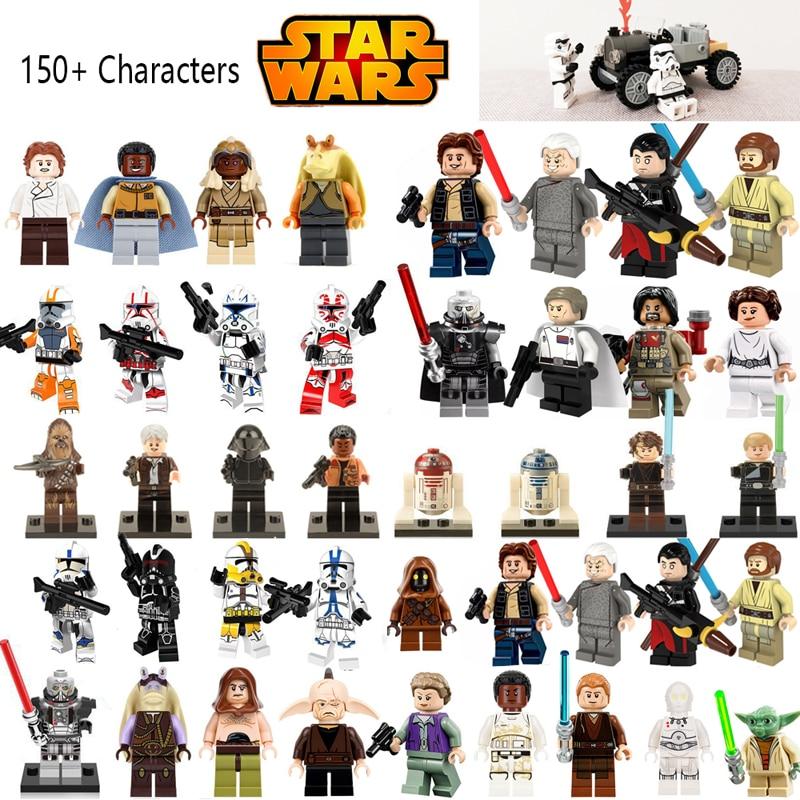 все цены на Star Wars Jedi Chewbacca Building Blocks Han solo Darth Vader legoing Figures Jango Fett Obi Wan Models Toys for children bk37 онлайн