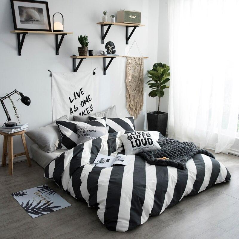 Schwarz und Weiß Blatt Diagonal Vertikale Streifen Plaid Bettwäsche Set Voll Königin Größe Baumwolle Bettbezug Flache Blätter oder Ausgestattet blätter - 2