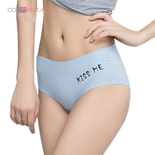 COLORIENTED Smooth Sexy Underwear Women 3D Panties Briefs Seamless Anti-pinch Hip Ice Silk Cool Material Lingerie Letter
