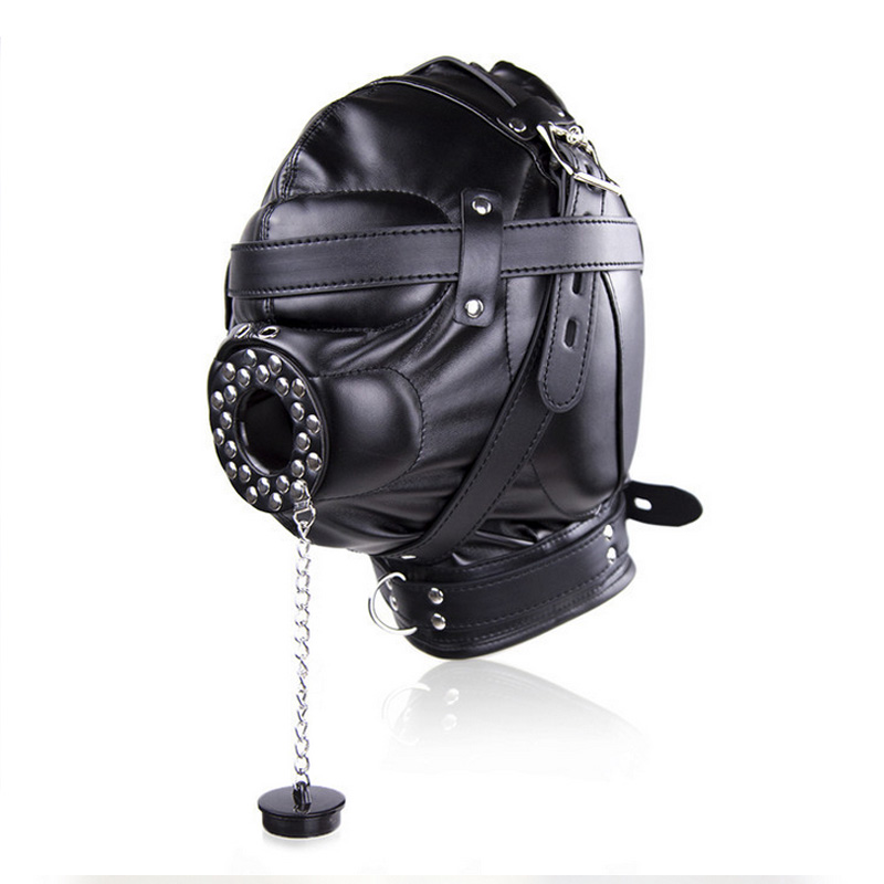 Sex Mask Fetish BDSM Leather Mouth Eye Slave Hood Ball Gag Sex Product Toy Bondage Erotic Costume For Couple Men Women