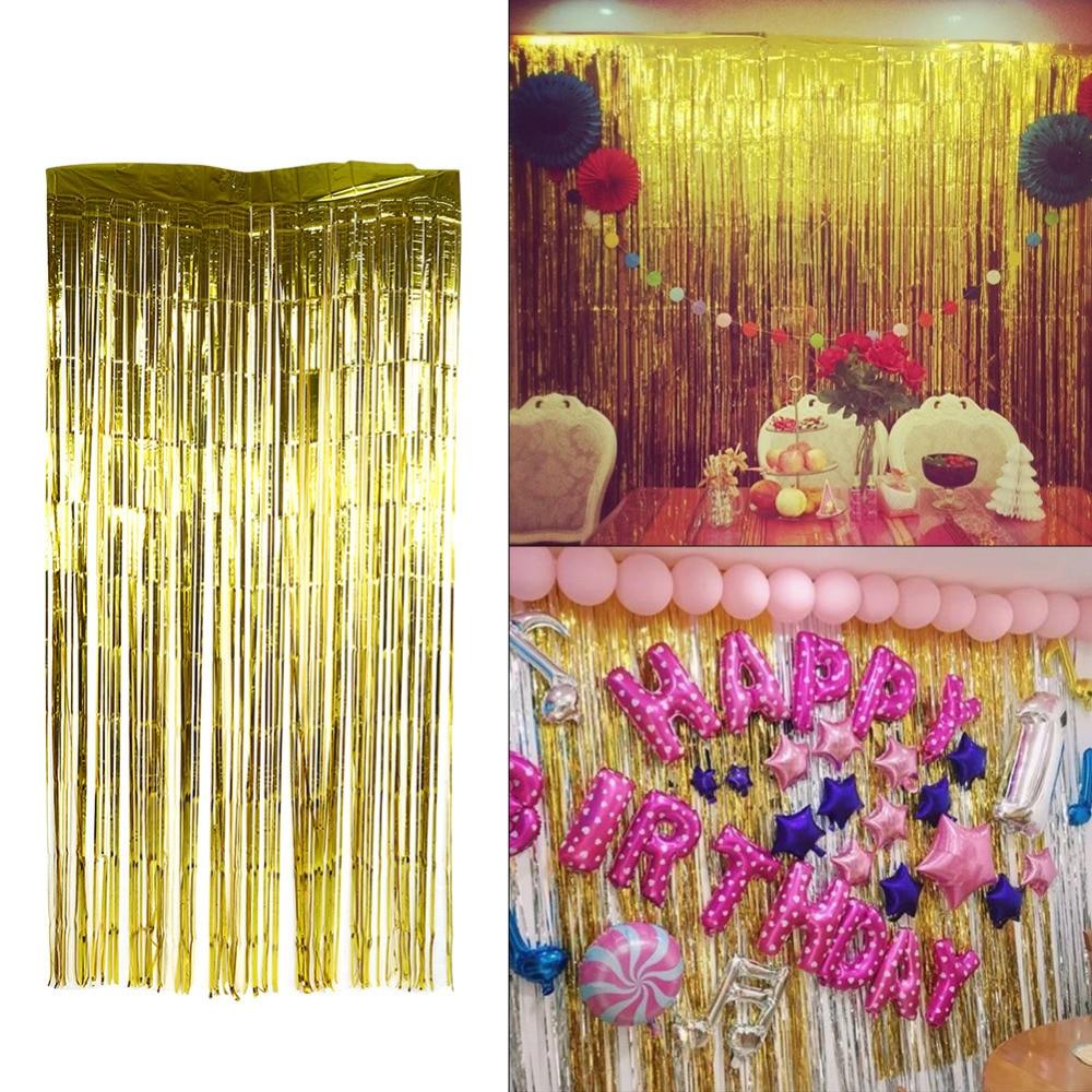 Door Fiil Party City: Wedding Wall Curtain Party Kids Home Metallic Fringe
