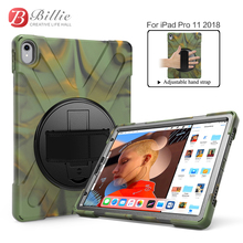 For iPad Pro 11 2018 Tablet Case Cover Silicone+PC Kickstand Hard Case With Wrist + Shoulder Strap case for ipad pro 11''  A1980 for ipad air 1 pirate tablet case cover kids safe shockproof heavy duty silicone pc kickstand case with wrist shoulder strap