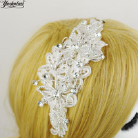 YACKALASI Crystal Floral 3D Princesa Floral Blanco de Novia de la Boda Velos Adornos Horquilla de Diamante 18*6 cm