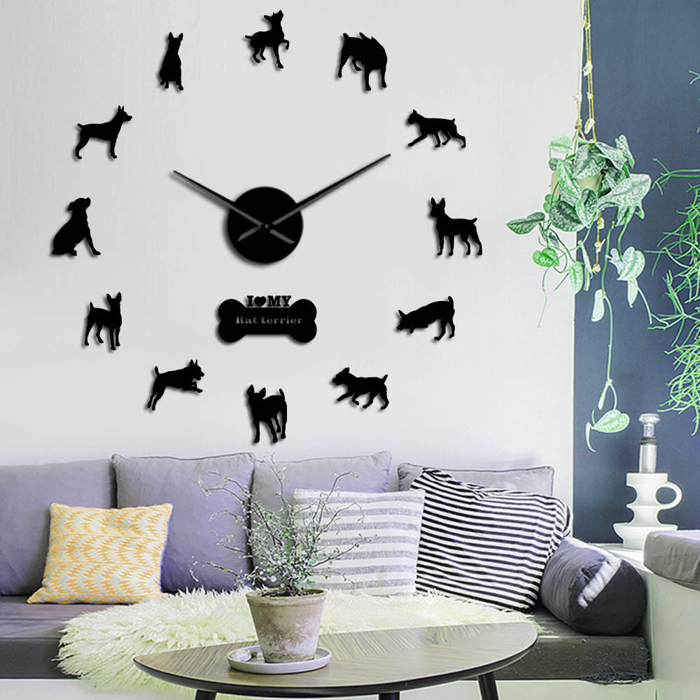 Rat Terrier Dog Wall Art Giant DIY Wall Clock Animal Dogs Companions Pet Store Decor 3D Mirror Effect Self Adhesive Wall Watch