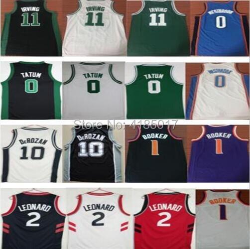 3568d6764f86 Dwayne mens 0 Jayson Tatum 2 Kawhi Leonard 10 DeMar DeRozan 11 Kyrie Irving  1 Devin Booker Russell Westbrook Basketball Jerseys