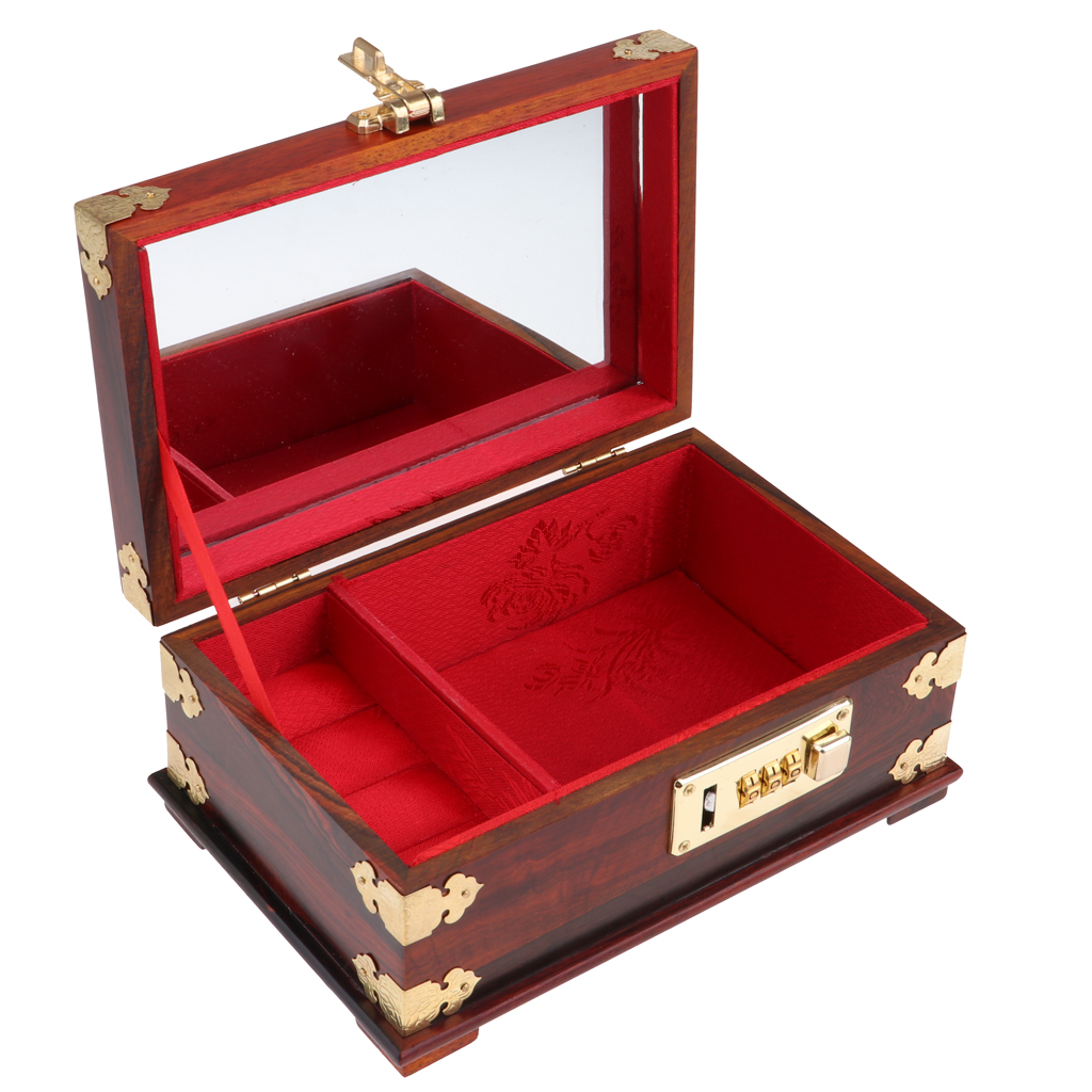 Retro 1/6 Mini Annatto Rosewood Jewelry Box with Coded Lock Furniture for Dollhouse 12inch Action Figures Accessories