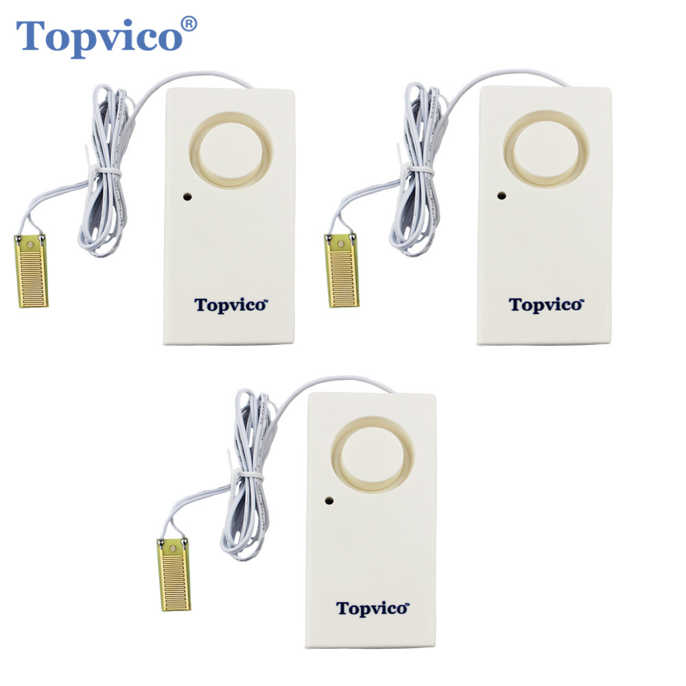 Topvico 3pcs Water Leak Detector Sensor Leakage Alarm Detection 120dB Alert Wireless Home Security Alarm System