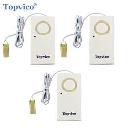 Topvico 3pcs Water Leak Detector Sensor Leakage Alarm Detection 130dB Alert Wireless Home Security Alarm System