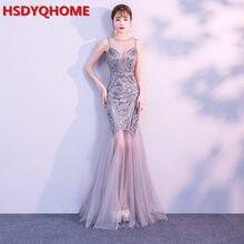 a2458db8a HSDYQHOME vestido de noche de lentejuelas cordón vestidos sirena largo  Formal Prom vestido de fiesta nuevo estilo 2019