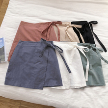 Solid Women Mini Skirt Summer Sweet Bow Lace Up Female A-Lin