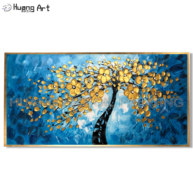 New Hand Painted Blue Background Oil Painting For Living Room Decor Modern Thick Knife Gold