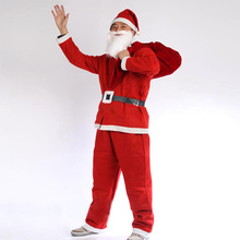 7pcs Christmas clothes TRICOT BRUSHED FABRIC Christmas Men Costumes Santa Claus Suit hat+beard+top+pants+belt+boots+backpack