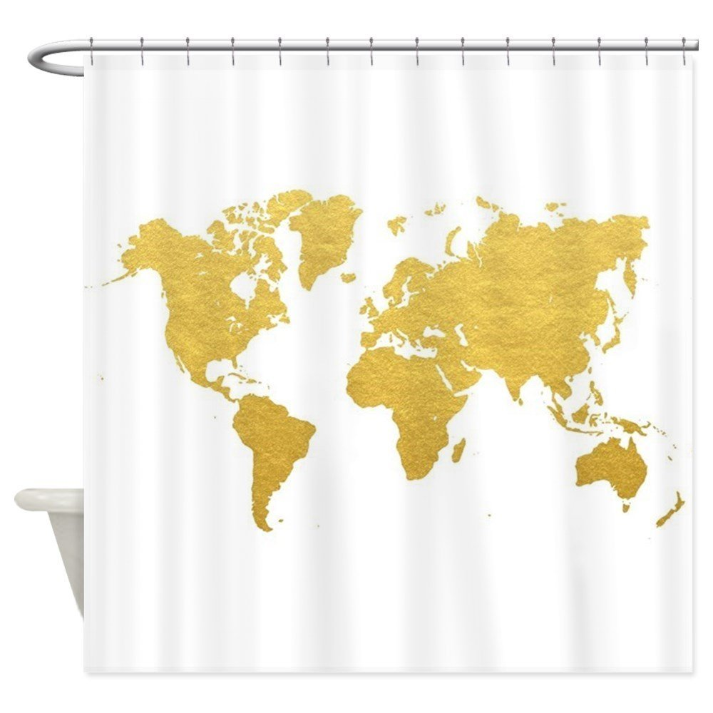 Gold World Map Decorative Fabric Shower Curtain For The Bathroom With 12 Hooks