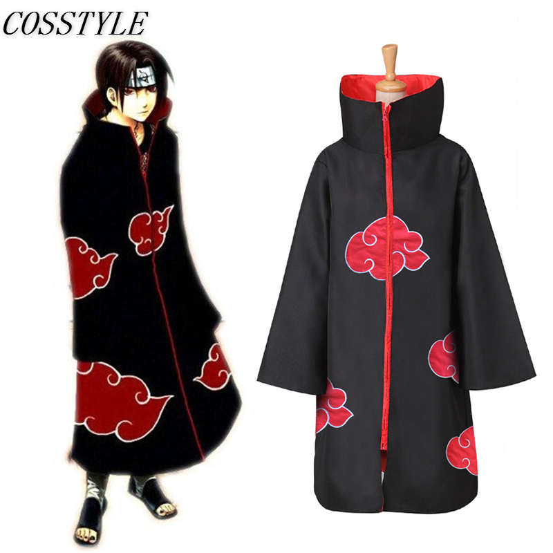 Classic Anime Naruto Cosplay Costume Akatsuki Uchiha Itachi Cloak Capes Adult Unisex Hooded Wind Coat Halloween Party Costumes