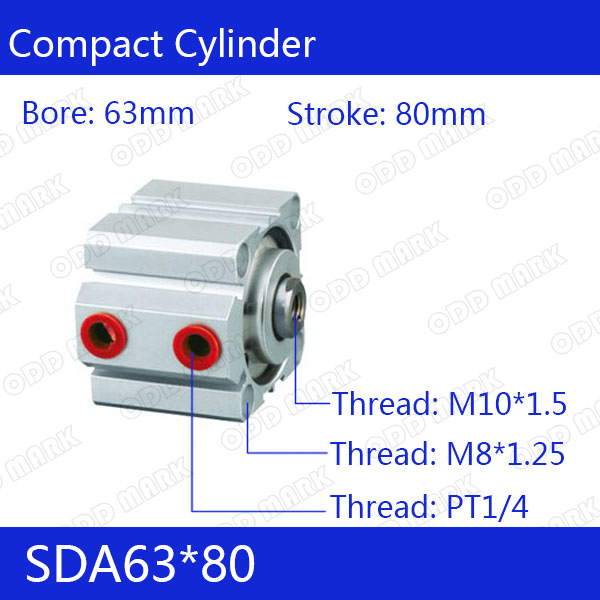 SDA63*80 Free shipping 63mm Bore 80mm Stroke Compact Air Cylinders SDA63X80 Dual Action Air Pneumatic Cylinder free shipping sda 63 95 63mm bore 95mm stroke double acting valve actuator cylinder pneumatic sda63 95 compact air cylinders