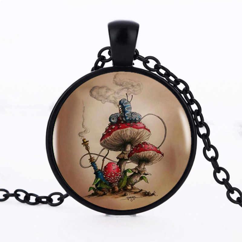 YAUTION Алиса в стране чудес-кулон в виде гриба колье эффектное серебряное ожерелье для женщин аксессуары для платья стеклянные украшения