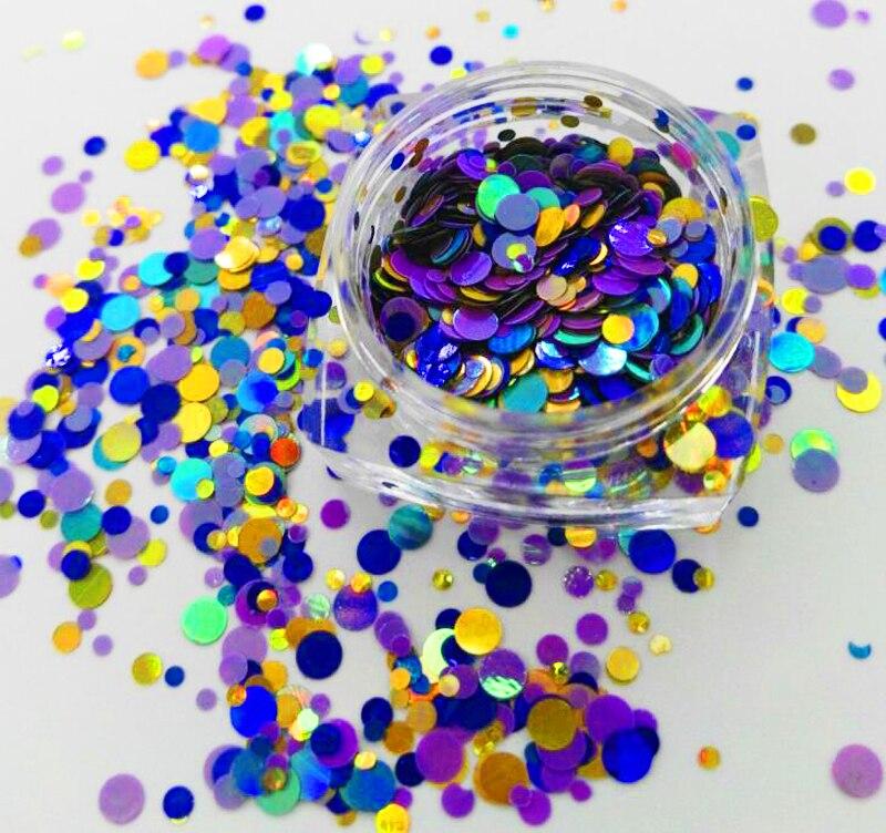 Holographische Dunkelblau Kreis Dot Glitter Mix Nail Glitter Flake Spangle 1/2/3mm Für Gel Acryl Bilden Handwerk Dekoration #08 Nagelglitzer Nails Art & Werkzeuge