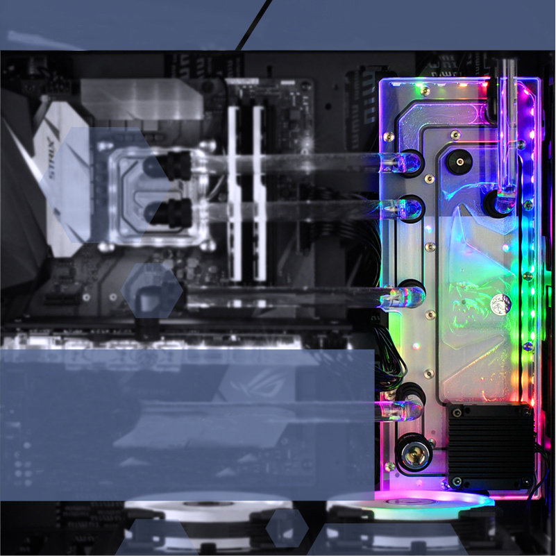 BYKSKI Acrylic Board Water Channel Solution use for IN WIN 915 Computer Case for CPU and GPU Block / 3PIN RGB / Combo DDC Pump цена и фото