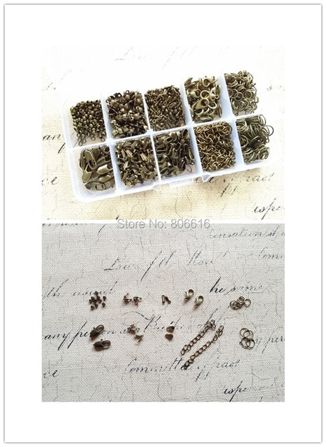 ( For DIY  Necklace~~) 950Pcs/Set Mix 10 Styles Vintage Bronze Components Box Jewelry Accessories Findings