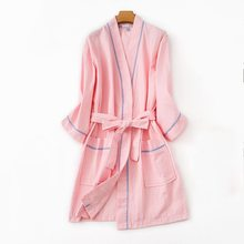 bc45f1d52d 2019 Spring Plus size Gown Dress Women 100% Cotton Robes Ladies Long Sleeve  V-