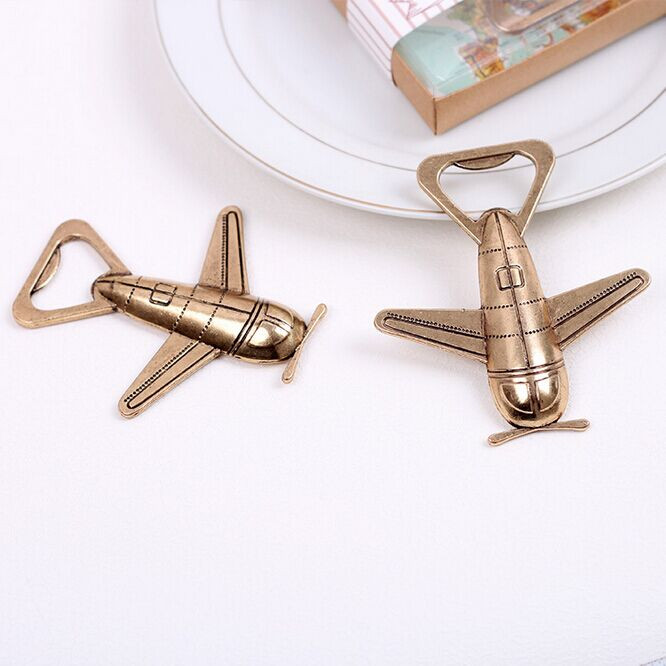 Travel themed classic Brass color metal vintage airplane bottle opener