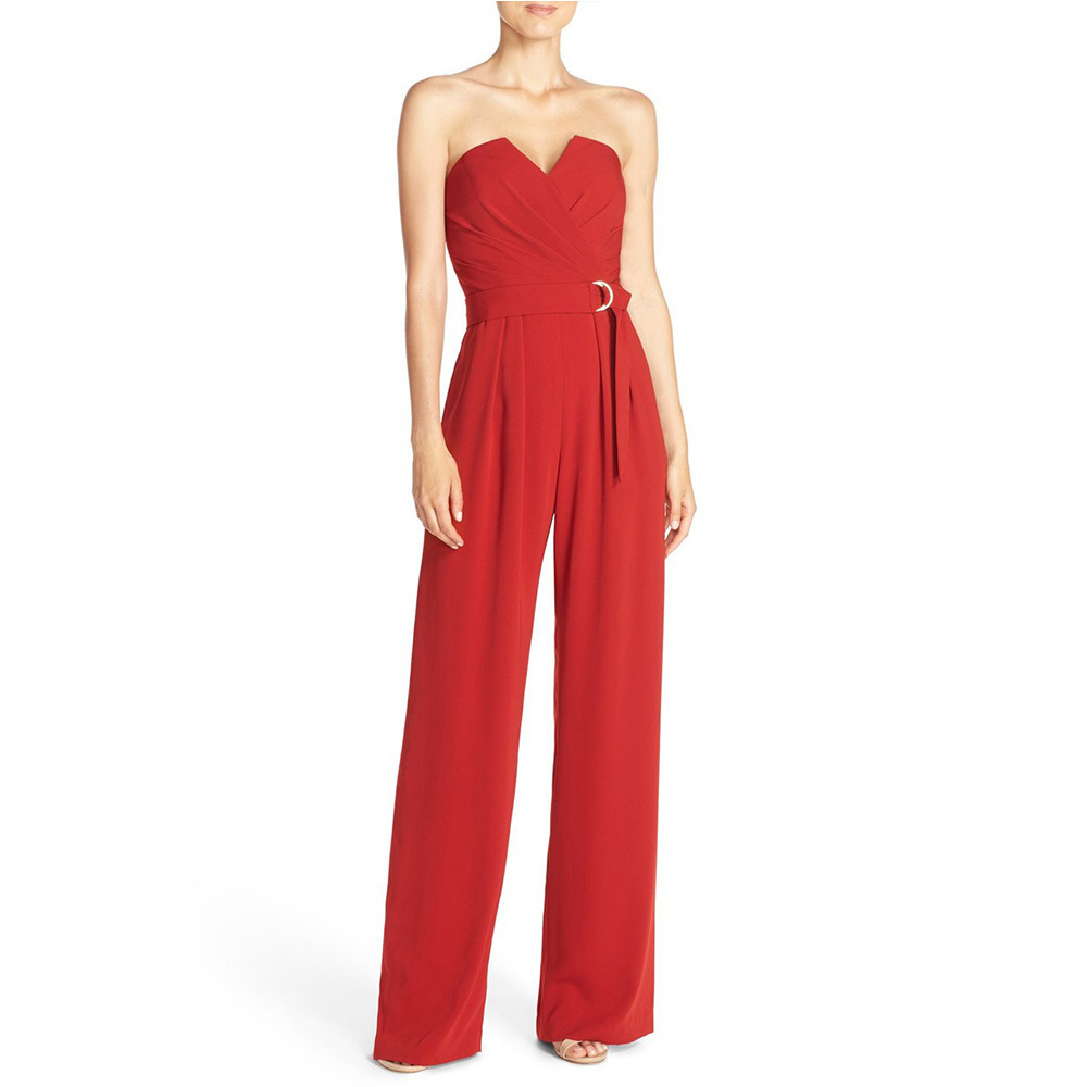 Elegant Style Strapless Plain Pleated Red Bodice Jumpsuit Women 2017 Summer Long Playsuits Femme Clubwear Free Shipping