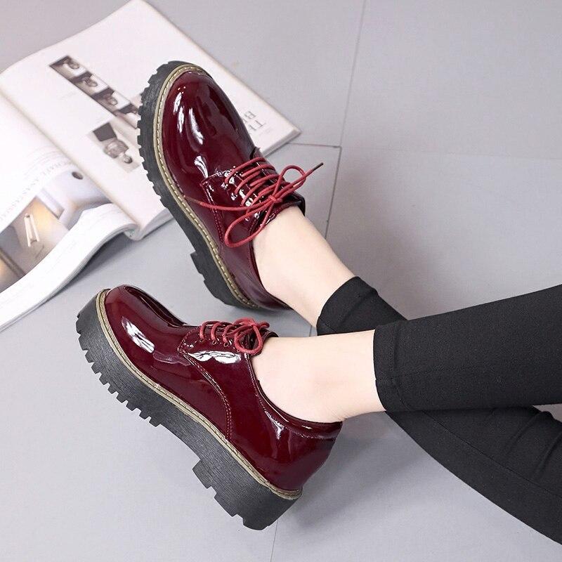 Mocassins Noir Nouveau Été Cuir Femmes Dames marron Plat Printemps En Chaussures 2018 Pour Laçage Casual OHq7E