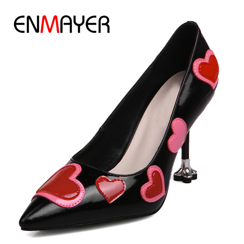 ФОТО ENMAYER Poined Toe Shallow Summer Pumps Shoes Woman High Heels Plus Size 34-43 Classic Black Pink Chaussure Mode Sexy Ete Shoe