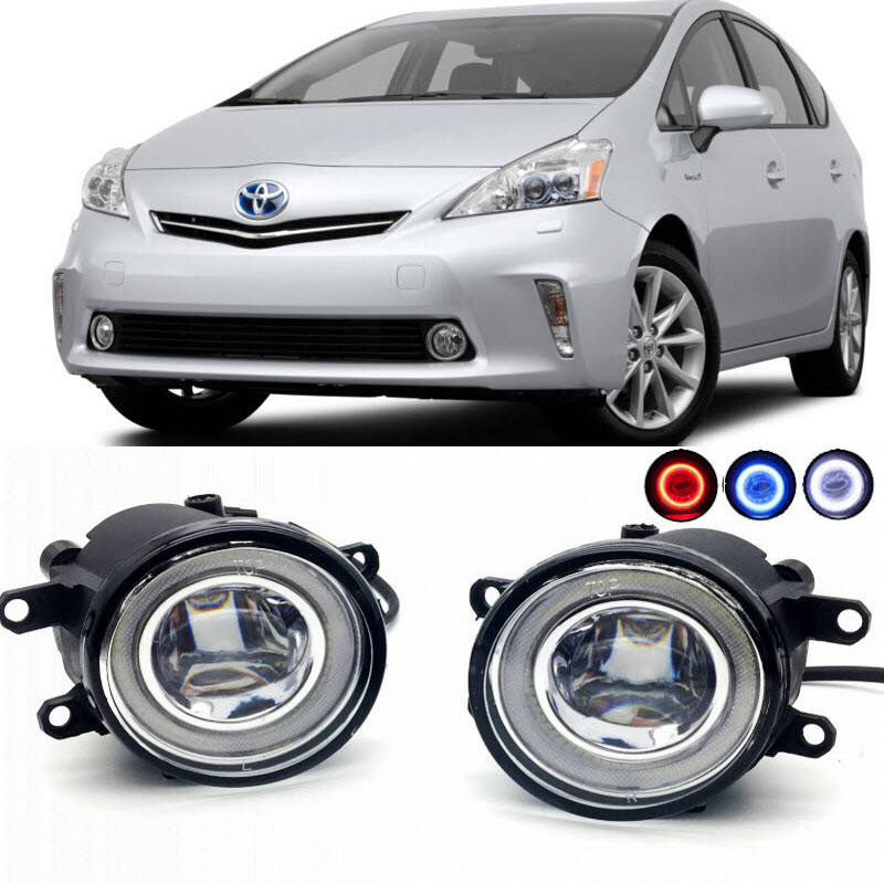 For Toyota Prius V 2012-2015 2 in 1 LED Cut-Line Lens Fog Lights Lamp 3 Colors Angel Eyes DRL Daytime Running Lights Car Styling car styling 2 in 1 led angel eyes drl daytime running lights cut line lens fog lamp for land rover freelander lr2 2007 2014
