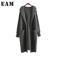 EAM 2017 New Summer Round Neck Half Sleeve Solid Color Gray Apricot Thickening Knittig Sweater