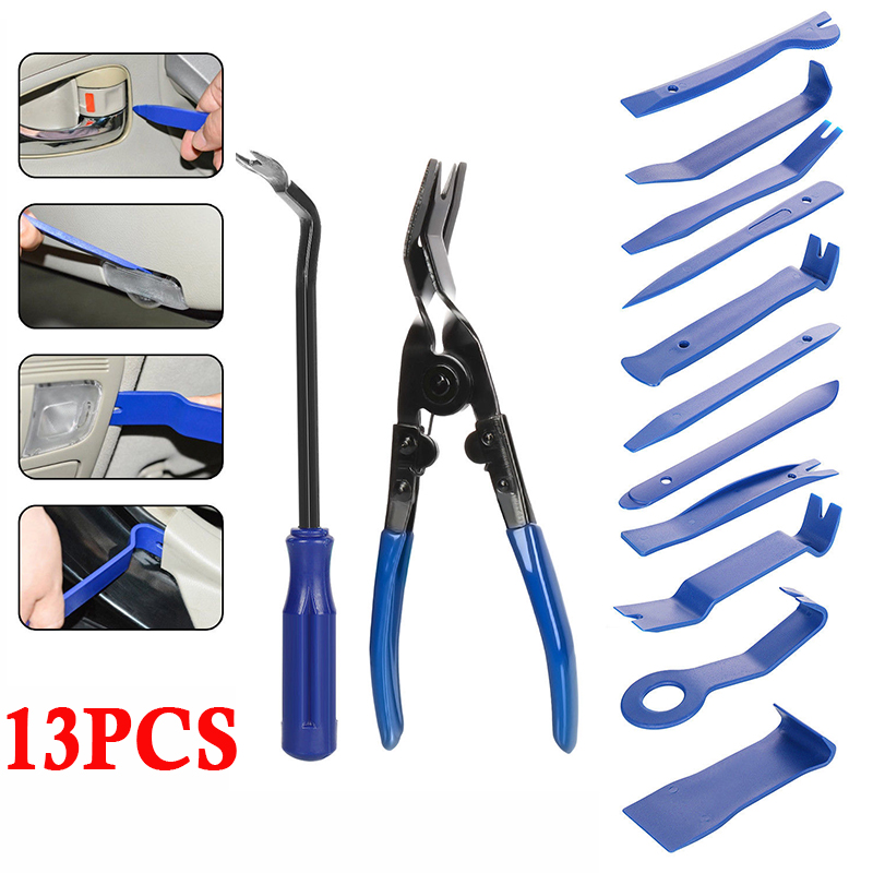 13piece Car Interior Panel Tool Clip Solder Disassembly Kit Mounting Lever Blue