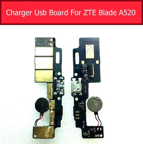 Vibrator &USB Charging Jack Board For ZTE Blade A520 BA520 Usb Charger Port Dock Connector Module Flex Cable Ribbon Repair Parts