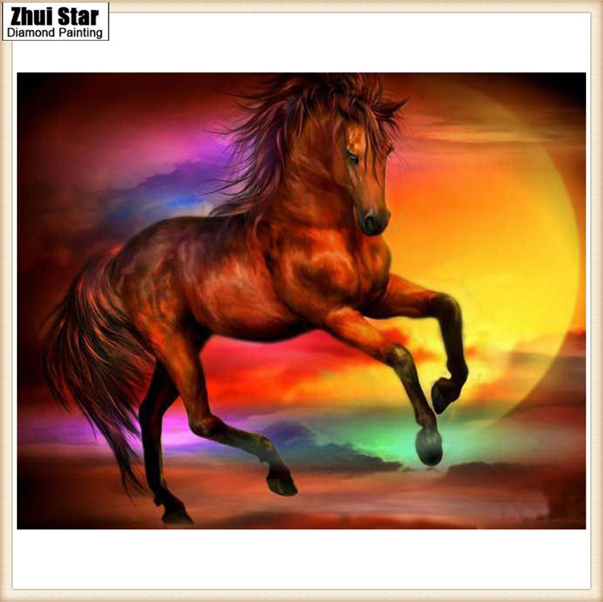 New Handicrafts Sunset horse 5D Diy Full Diamond Painting Cross Stitch square Diamond embroidery Mosaic European Home Decor gx ...