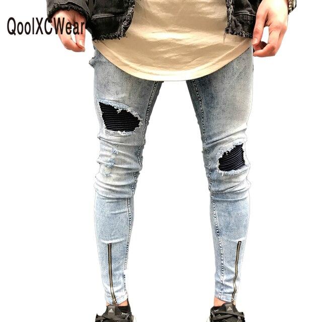 4ccaa9110b1d QoolXCWear denim hosen Beliebte Schneeflocke Weißlich Mens Jeans Washed  Pleatea Mesh-verstärktes Loch Jeans Lässig