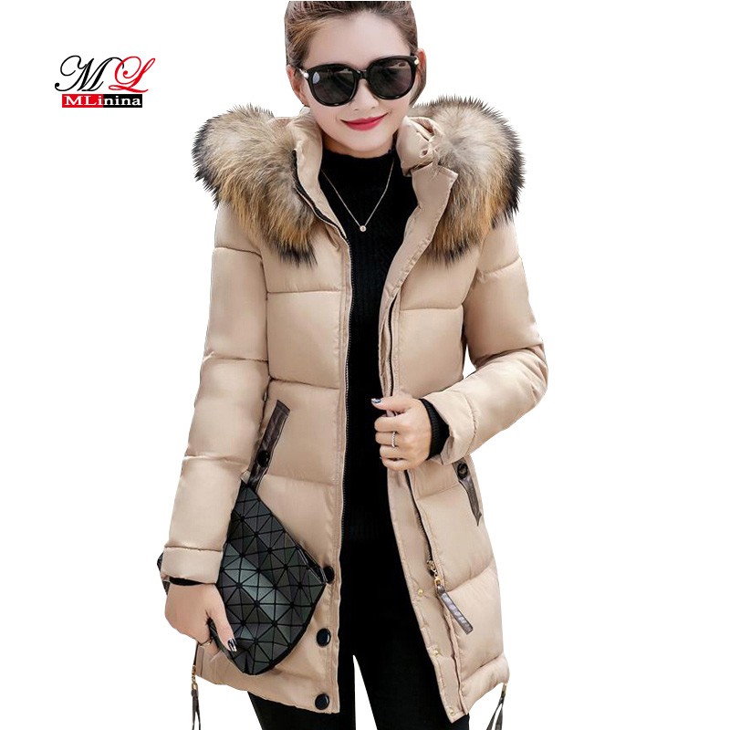 MLinina Fur Collar Winter   Parkas   Women Cotton Padded Coat Thickening Jacket Female Slim Hooded Zipper Warm Outerwear Overcoat