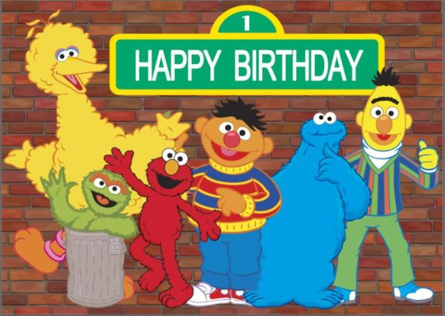 7x5FT Sesame Street Elmo World Bricks Wall Happy Birthday Custom Photography Studio Background Backdrop Vinyl 220cm