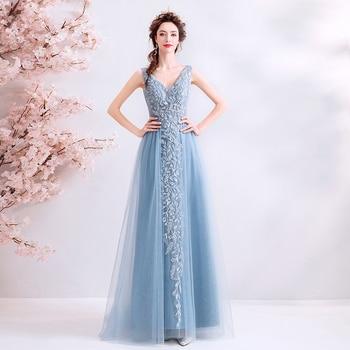 2019 New Arrival Smoke Blue A-line Prom Dresses V-neck Sleeveless Formal Party Dresses Vestido De Fiesta Long Prom Gowns