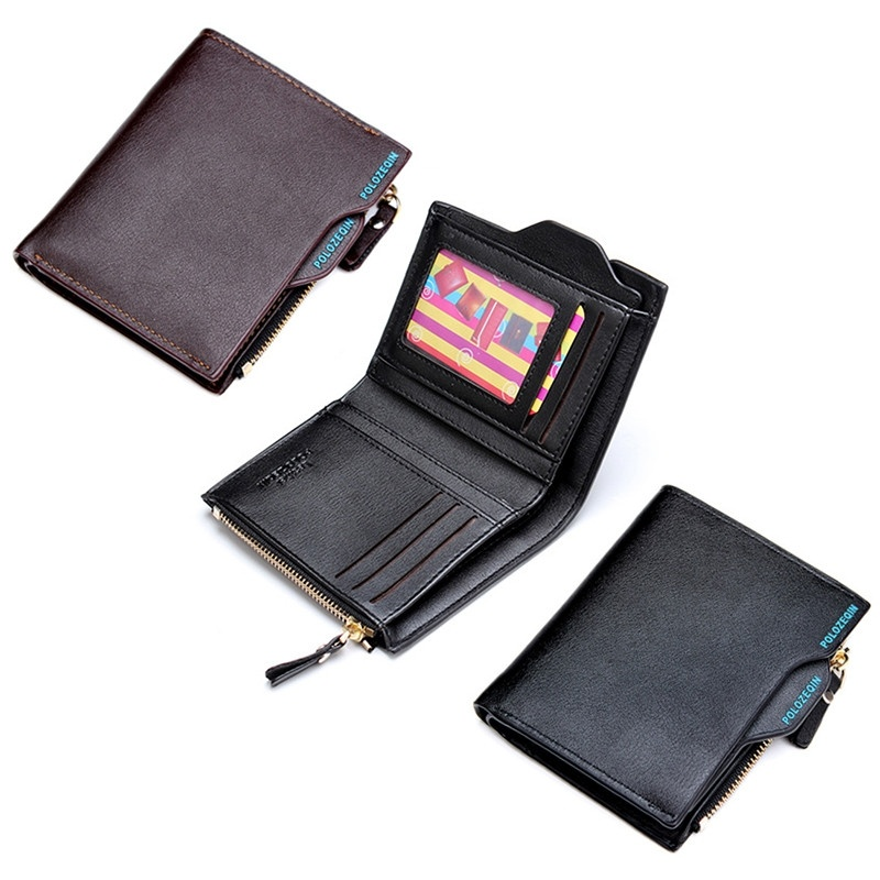 New Men Short Wallets Balck Brown Bifold Wallet Mens Brand Leather Card holder Coins With Zipper Wallet Purses Pockets велосипед stels navigator 570 v 2016