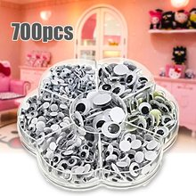 Universal 700Pcs 4/5/6/7/8/10/12mm Total Mixed Googly Eyes Self-adhesive DIY Scrapbooking for Teddy