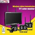 HD de 7 Pulgadas TFT Color Monitor Del Coche Con la Visión Nocturna Impermeable cámara de Aparcamiento IR Wireless Inalámbrico de Doble Cámara Para El Bus Del Vehículo