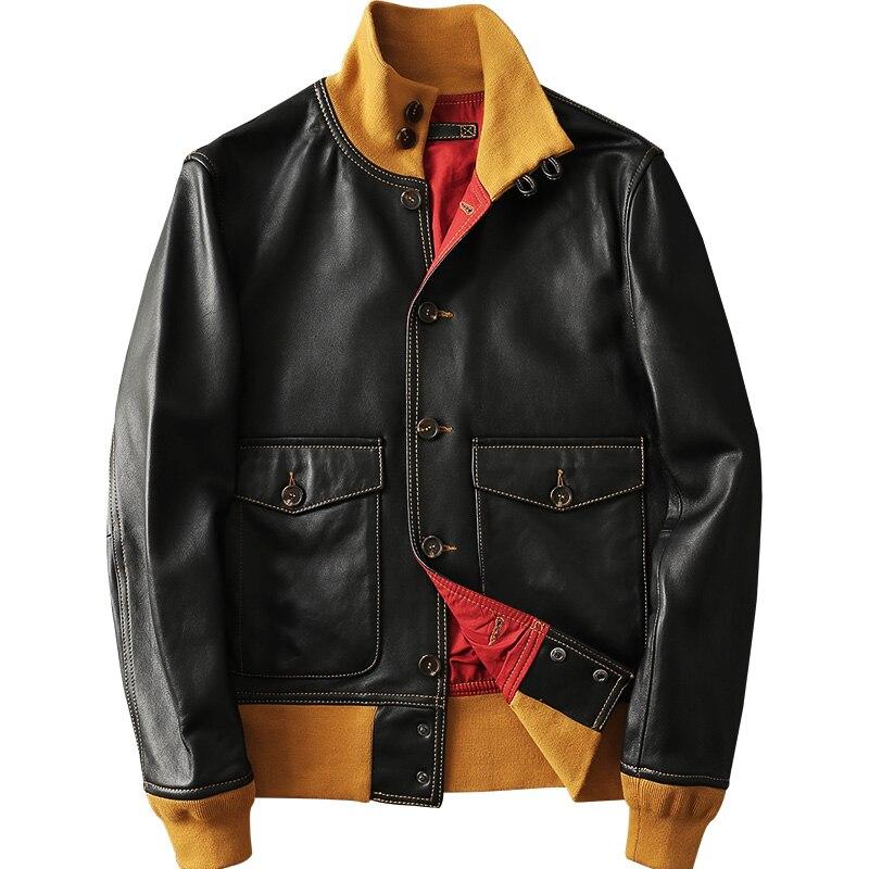 2020 new winter fashion men's genuine leather sheepskin coat male vintage jacket stand collar black plus size 2xl 3xl