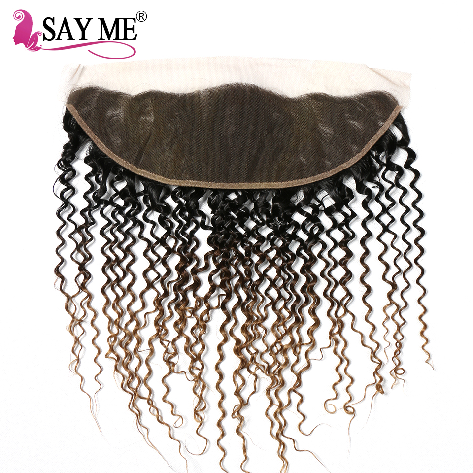 SAY ME 1B/4/27 Brazilian Kinky Curly Lace Front Closure 13*4 Ear To Ear Free Part Frontal Pre-Plucked Ombre Non Remy Human Hair
