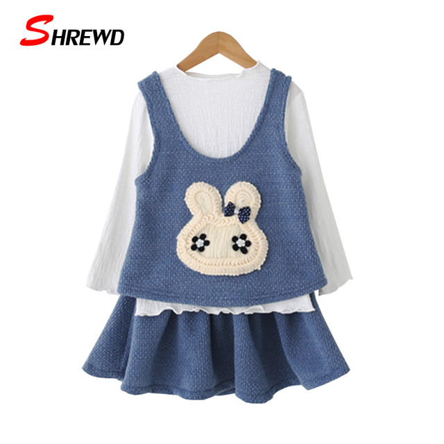 Set Girl Clothing 2016 New Autumn Cartoon Rabbit Toddler Girl Clothing Vest+Long Sleeve T Shirt+Solid Skirt Kids Clothes 3302Z