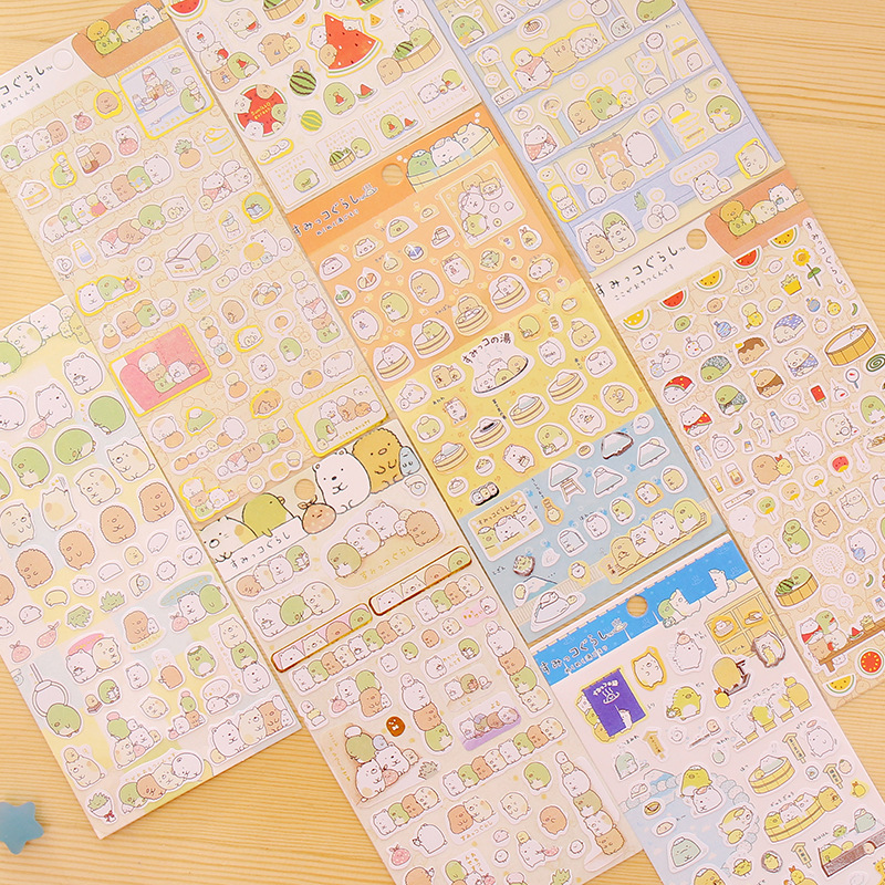 4pcs/Lot Sumikko gurashi paper sticker Cute bear penguin cat Decorative adhesive for diary letter scrapbook Stationery sweet letter pattern removeable waterproof decorative wall sticker