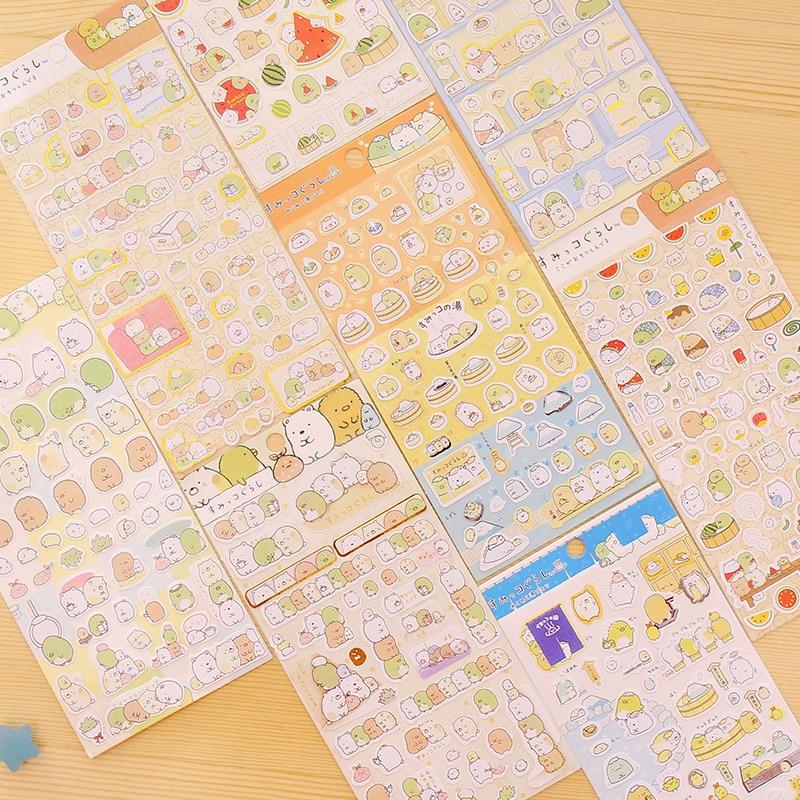 4pcs/Lot Sumikko Gurashi Paper Sticker Cute Bear Penguin Cat Decorative Adhesive For Diary Letter Scrapbook Stationery