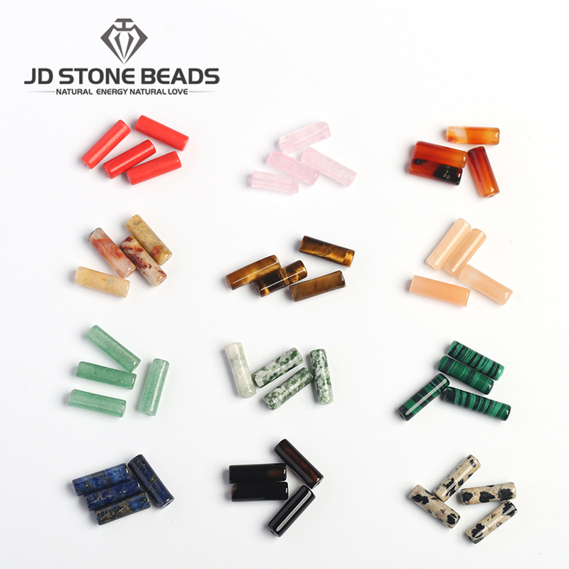 JD Stone Beads Free Shipping NATURAL GREEN JADE  ROUND TUBE WITH HOLE Mixed Color Mixed Material Round Tube Beads For Accessory