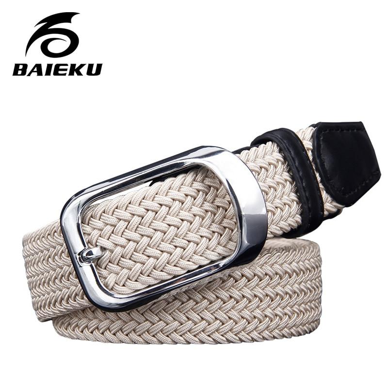 3ec9139721 Baieku lienzo elásticos cinturones tejidos hombres jóvenes aguja cinturón  edición floja marea Joker hebilla del cinturón de la moda