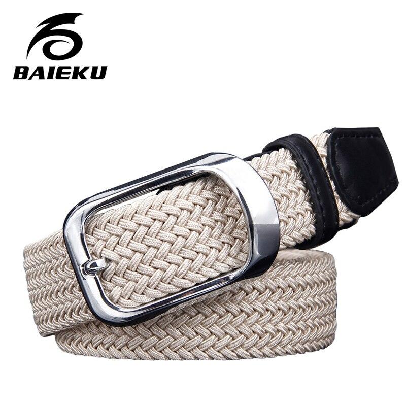 baieku Canvas elastic woven belts young men needle han edition belt slack tide male fashion belt buckle joker