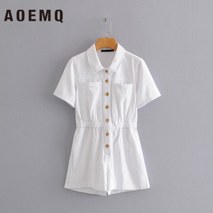 AOEMQ أزياء الصيف حللا الأبيض الصلبة جيوب سفاري نمط الأعمال بالزي حللا النساء قمم بدوره إلى أسفل طوق الملابس