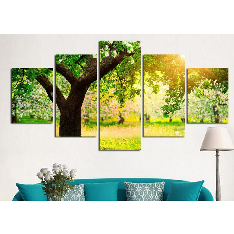 Canvas Tableau Painting Modern Art Live Wall 5 Piece Summer Green ...